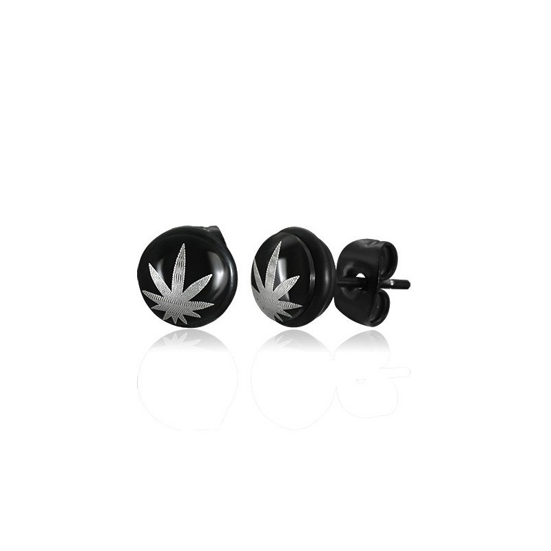 boucles d 39 oreilles homme zense en acier noir feuille de cannabis et marijuana ze0020. Black Bedroom Furniture Sets. Home Design Ideas