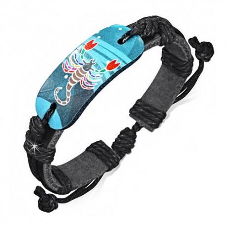 Scorpion Bracelet Zb0185 Cuir Noir Ajustable Zodiaque Homme Pour Astro QthdrsC