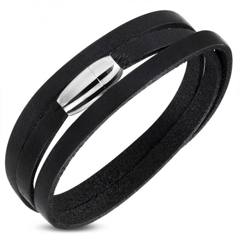 bracelet collier homme en cuir v ritable noir et fermeture magn tique en acier zb0226. Black Bedroom Furniture Sets. Home Design Ideas