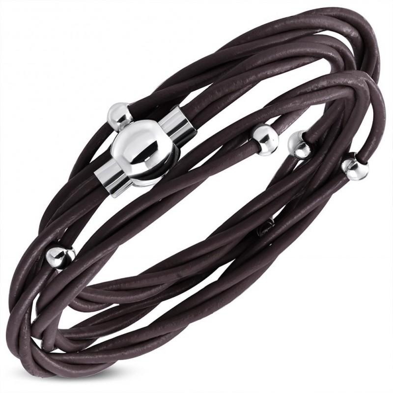 bracelet collier homme en cuir v ritable marron et fermeture magn tique en acier zb0227. Black Bedroom Furniture Sets. Home Design Ideas