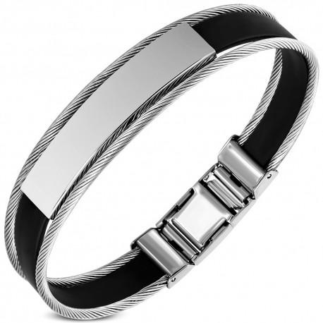 Bracelet acier et caoutchouc ZB0236