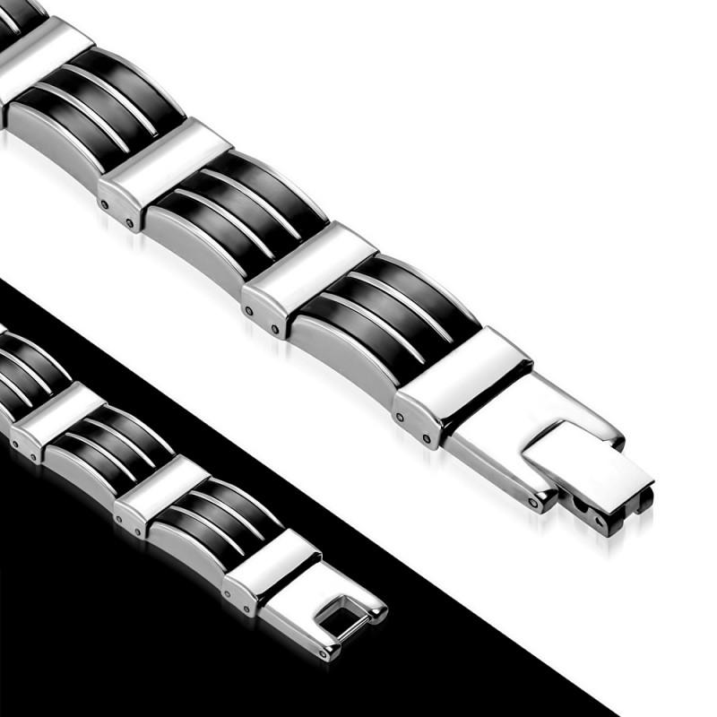 gourmette pour homme en acier brillant et noir zense zb0159. Black Bedroom Furniture Sets. Home Design Ideas
