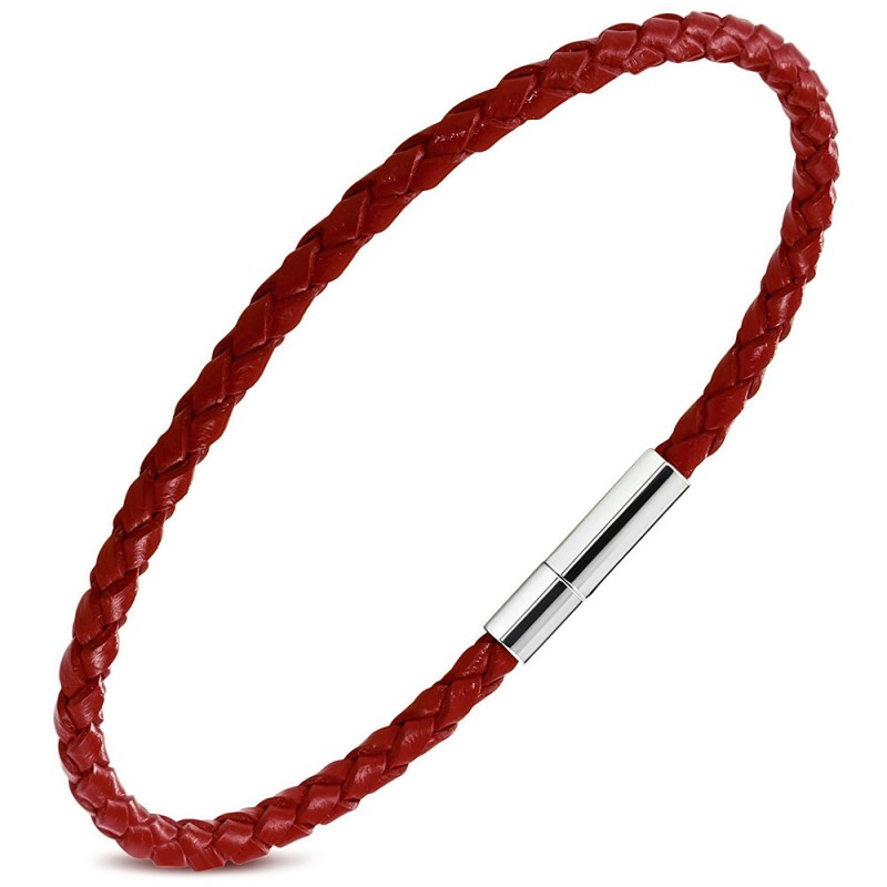 bracelet fin tress rouge en cuir v ritable pour homme zb0262. Black Bedroom Furniture Sets. Home Design Ideas