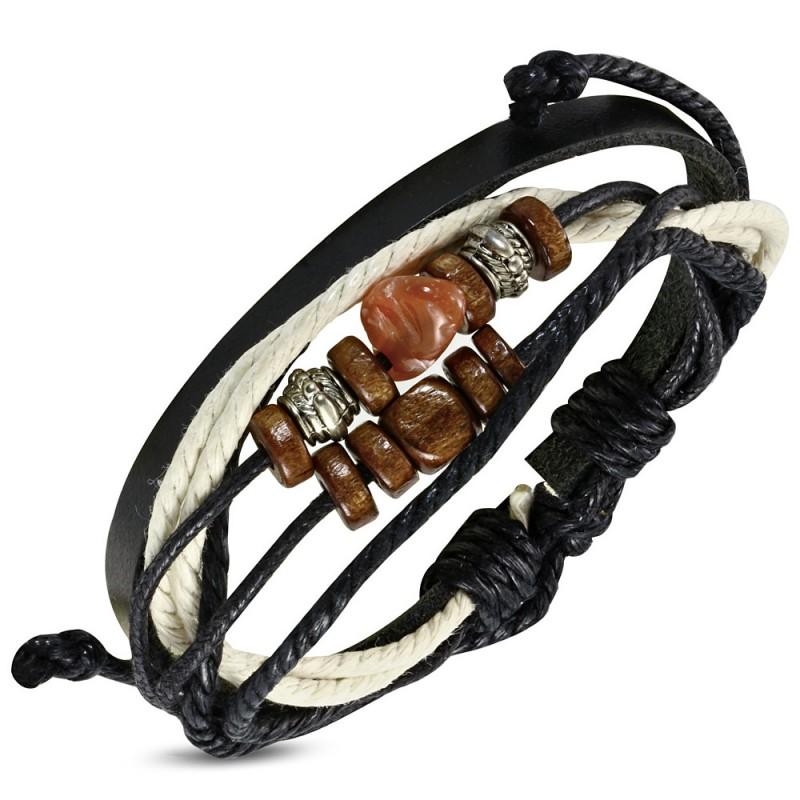 bracelet en cuir noir pour homme zense zb0078 cordes multi. Black Bedroom Furniture Sets. Home Design Ideas