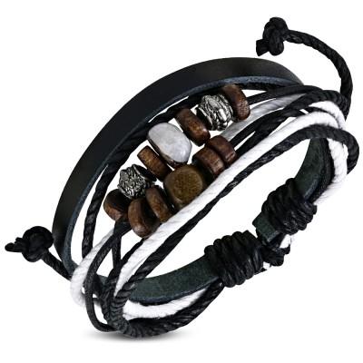 Zense Bracelet homme en cuir tressé noir fermeture magnétique en acier ZB0216