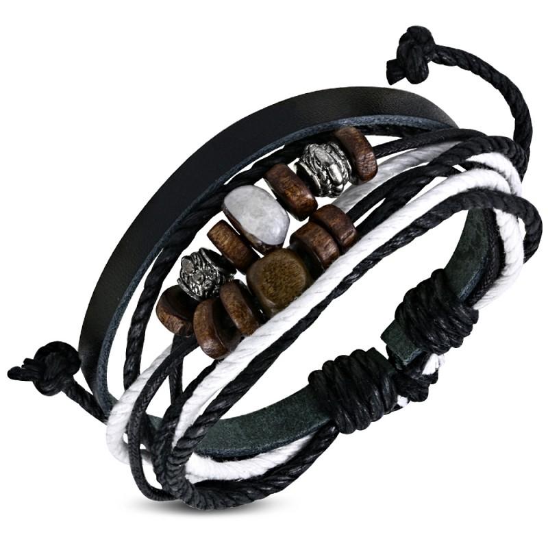 bracelet homme cuir ajustable multicolore zb0112 perles bois et acier. Black Bedroom Furniture Sets. Home Design Ideas