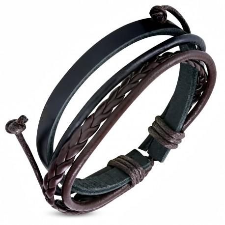 bracelet homme en cuir zense zb0074 avec cordes noires et. Black Bedroom Furniture Sets. Home Design Ideas