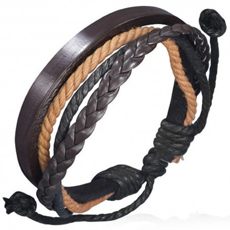 bracelet homme en cuir zense zb0065 avec cordes multi couleurs. Black Bedroom Furniture Sets. Home Design Ideas