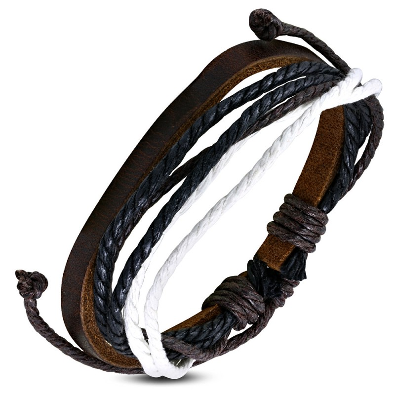 bracelet homme en cuir zense zb0062 avec cordes multi couleurs. Black Bedroom Furniture Sets. Home Design Ideas