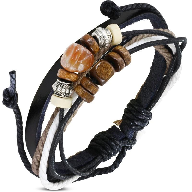 bracelet cuir homme r glable noir avec perle karma et. Black Bedroom Furniture Sets. Home Design Ideas