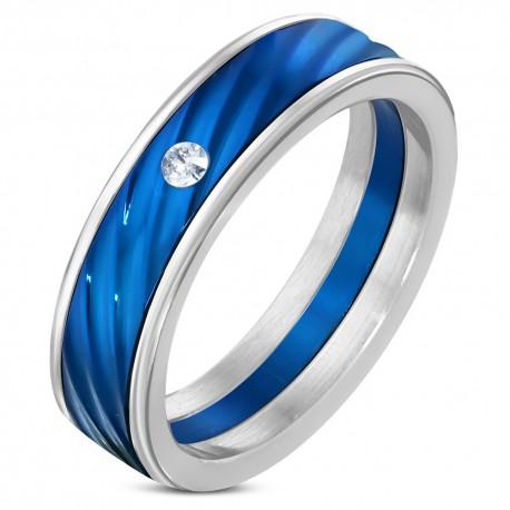 Diamant Bague Et Circon Zr0139 Rainures Diagonales Homme Bleu Anneau bvY7yIgf6