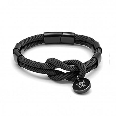 Bracelet noeud marin noir ZB0321