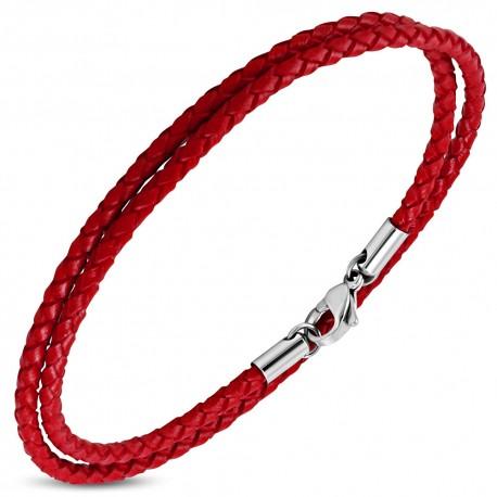 Bracelet homme cuir rouge ZB0261