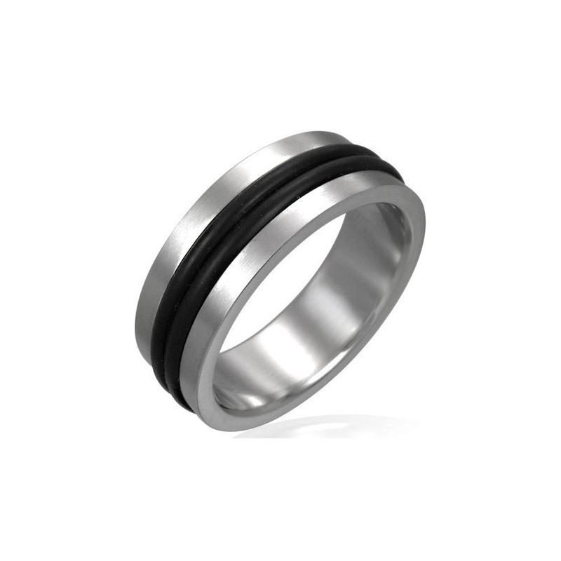bague homme acier zense zr0003 avec un double anneau noir. Black Bedroom Furniture Sets. Home Design Ideas