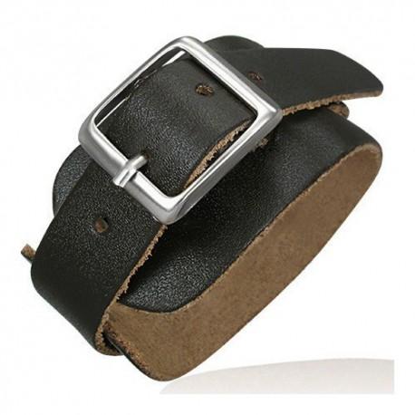 bracelet homme large zense zb0075 mode en cuir ceinture marron et ajustable. Black Bedroom Furniture Sets. Home Design Ideas