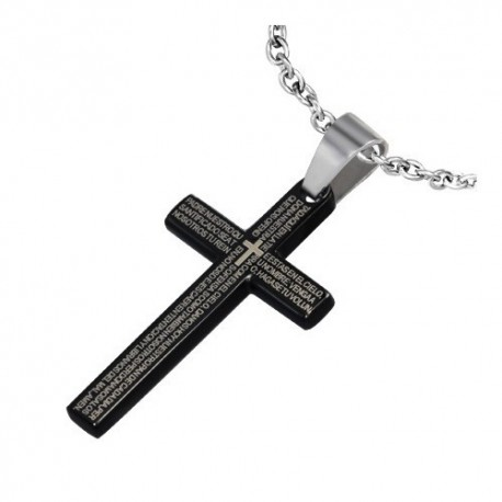 pendentif homme croix latine noire zense zp0073 avec inscriptions. Black Bedroom Furniture Sets. Home Design Ideas