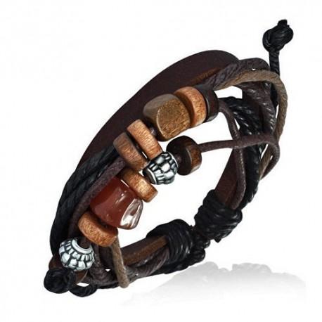 bracelet homme cuir ajustable zense zb0115 perles bois et acier noir marron et anthracite. Black Bedroom Furniture Sets. Home Design Ideas