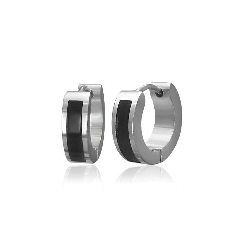 boucle d'oreille homme anneau noir