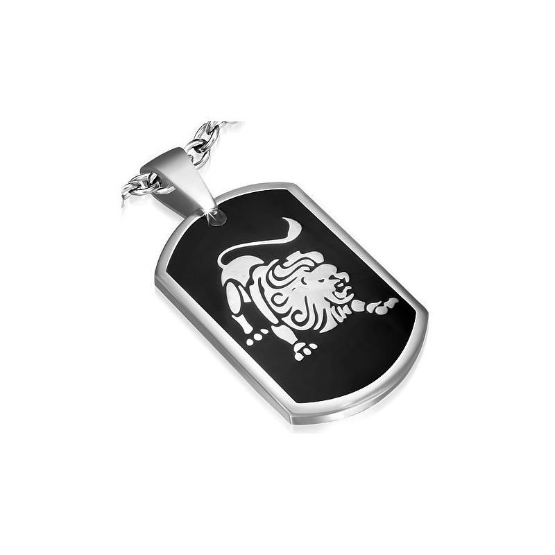 pendentif m daillon homme en acier noir et argent signe zodiaque lion zp0125. Black Bedroom Furniture Sets. Home Design Ideas