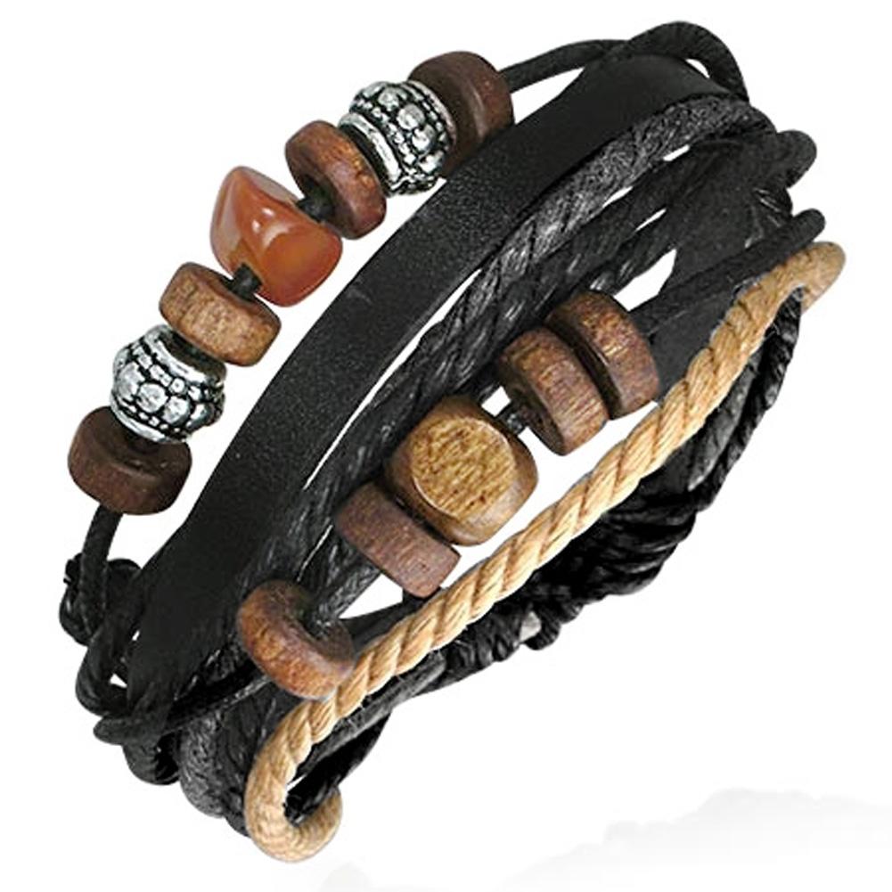 bracelet homme cuir ajustable zense zb0106 perles bois acier symbole de karma ebay. Black Bedroom Furniture Sets. Home Design Ideas