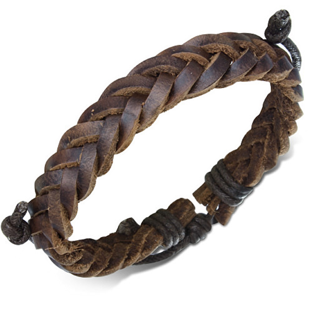 Genuine brown leather star stud wrap belt buckle bracelet ZB0120 for men Zense