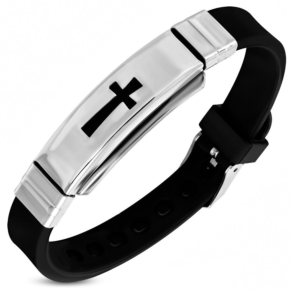 magasin en ligne 7cc6b 430ef Détails sur Zense - Bracelet homme noir caoutchouc et acier avec croix  pattée ZB0283