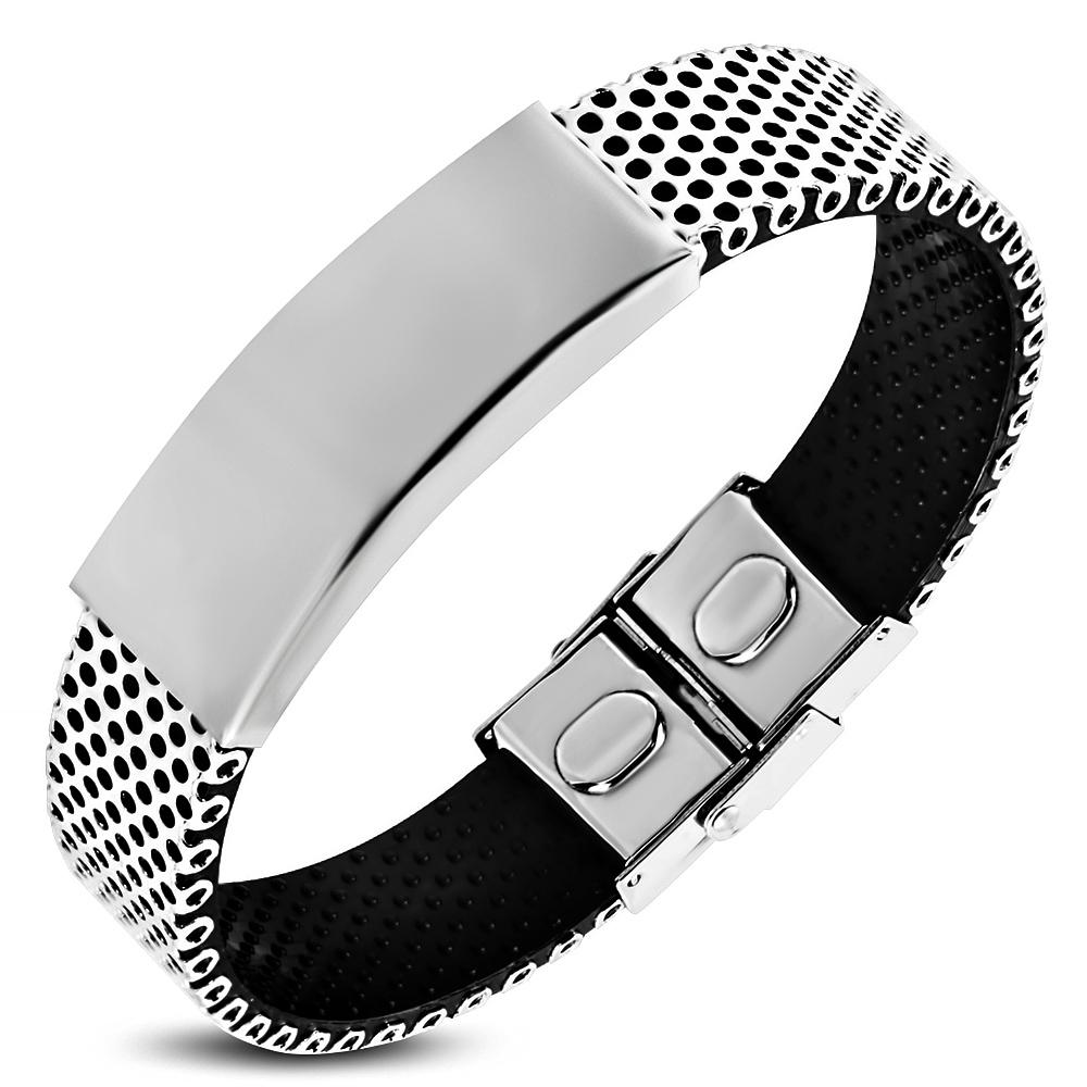 Zense-Bracelet-homme-en-acier-et-caoutchouc-noir-pour-graver-ZB0307